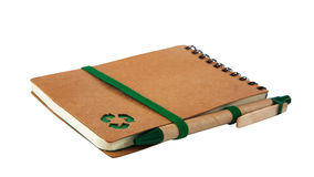 Notebook with green recycle icon and Pen Royalty Free Stock Image