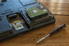 Notebook hard drive repair. Screwdriver and screws on a wooden table Royalty Free Stock Image