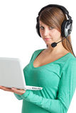 Notebook and headset Royalty Free Stock Photo