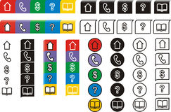 Schedule icons. Schedule info, stickers, labels. Five color and black-and-white icons for a notebook or an organizer with the image of the house, phone, $, a Royalty Free Stock Image