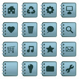 Notebook icons blue Royalty Free Stock Photography
