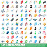 100 notebook icons set, isometric 3d style Royalty Free Stock Images