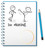 A notebook with an image of two people ice skating Stock Photo