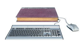 Notebook inside book, Computer. Isolated white Royalty Free Stock Photography