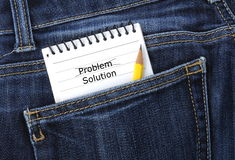 Notebook in jeans pocket Stock Photo