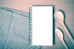 Notebook and kitchen tools vintage style Royalty Free Stock Photos