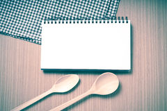 notebook and kitchen tools vintage style Stock Image