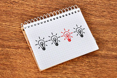 Notebook with  lamps Royalty Free Stock Image