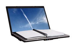 Notebook on laptop. Royalty Free Stock Photography