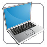 Notebook - Laptop. Vector illustration of a silver notebook