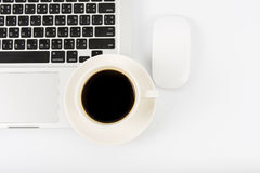 Notebook laptop and coffee cup Stock Photos