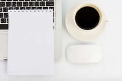 Notebook laptop and coffee cup Royalty Free Stock Images