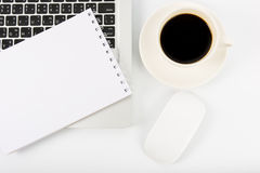 Notebook laptop and coffee cup Stock Photo