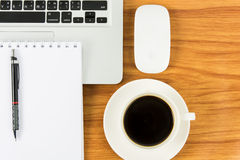 Notebook laptop and coffee cup Stock Photography