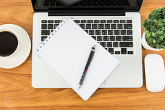 Notebook laptop and coffee cup Stock Images