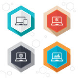 Notebook laptop pc icons. Repair fix service. Hexagon buttons. Notebook laptop pc icons. Internet globe sign. Repair fix service symbol. Monitoring graph chart Stock Image
