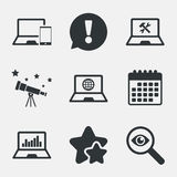 Notebook laptop pc icons. Repair fix service. Stock Photos