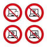 Notebook laptop pc icons. Repair fix service Stock Photo