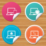 Notebook laptop pc icons. Virus or software bug. Stock Images