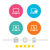 Notebook laptop pc icons. Virus or software bug. Royalty Free Stock Image
