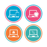 Notebook laptop pc icons. Virus or software bug. Stock Image