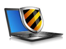 Notebook Laptop with shield - Internet security concept Royalty Free Stock Photography