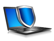 Notebook Laptop with shield - Internet security concept Royalty Free Stock Images