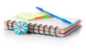 Notebook, leaflets for records and the handle Royalty Free Stock Photo