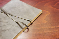 Notebook with leather cover Stock Photos