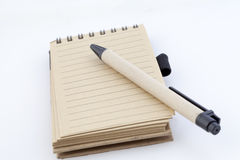 Notebook with lines can shred and penc Royalty Free Stock Photo