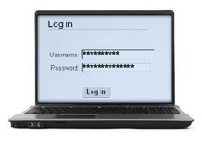 Notebook with log in screen #2 Royalty Free Stock Images