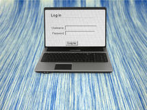 Notebook with log in screen Stock Image