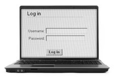 Notebook with log in screen  Stock Photos