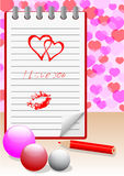 Notebook with love message. vector eps10. Stock Photos