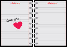 Notebook with love you text vector illustration