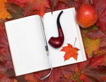 Notebook and maple leaves Royalty Free Stock Photos