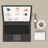 Notebook with marketing graph and accessories on desk. Vector Royalty Free Stock Photography