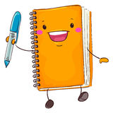 Notebook Mascot Holding a Pen. Vector Illustration of Notebook Mascot Holding a Pen Royalty Free Stock Images