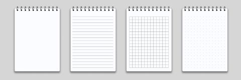Free Notebook Memo Notepad Binder. Vector Note Pad Or Diary With Lined And Squared Paper Page Template Stock Image - 139151611