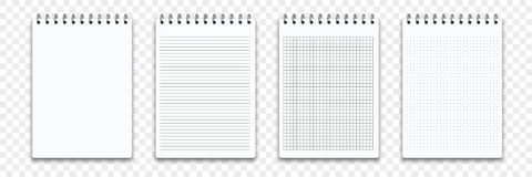 Free Notebook Memo Notepad Templates. Vector Note Pad Or Diary Line And Square Paper Page Binder Stock Images - 139151514