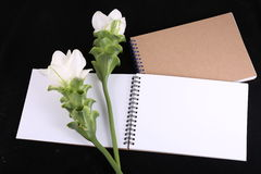Notebook memory with a flower. Royalty Free Stock Image