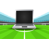 Notebook in the midfield of football stadium vector Royalty Free Stock Images