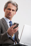 Notebook and mobile phone Royalty Free Stock Photo
