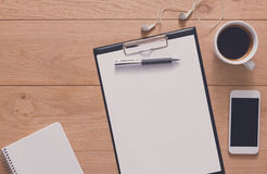 Notebook with mobile top view, study and office work Stock Images