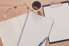 Notebook with mobile top view, study and office work Royalty Free Stock Images