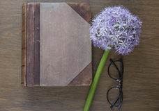 Notebook mock up for artwork with purple allium and glasses. Top view. Place for text. Fresh flower. Royalty Free Stock Photography