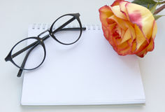 Notebook mock up for artwork with red and yellow rose and gasses . Top view. Place for text. Fresh flower. Stock Images
