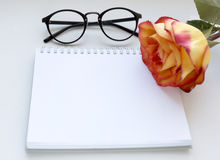 Notebook mock up for artwork with red and yellow rose and gasses . Top view. Place for text. Fresh flower. Royalty Free Stock Photo