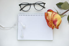Notebook mock up for artwork with red and yellow rose, white headphones and gasses . Top view. Place for text. Fresh Stock Photo