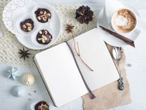 Notebook mock up over holiday background Royalty Free Stock Photography
